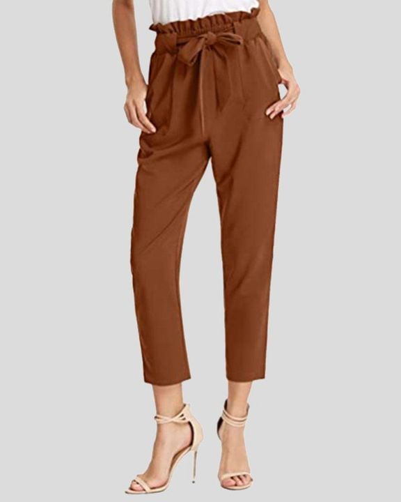 High Waist Belt Tie Paperbag Waist Crop Pants gallery 5