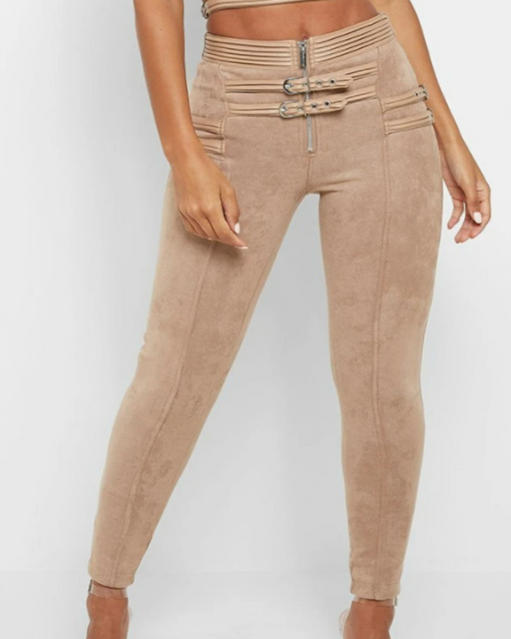 High Waist Half Zip Buckle Decor Skinny Pants gallery 5