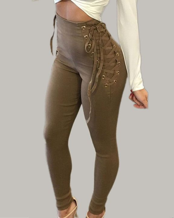 Eyelet Lace Up Side Zip Up Back High Waist Pants gallery 5