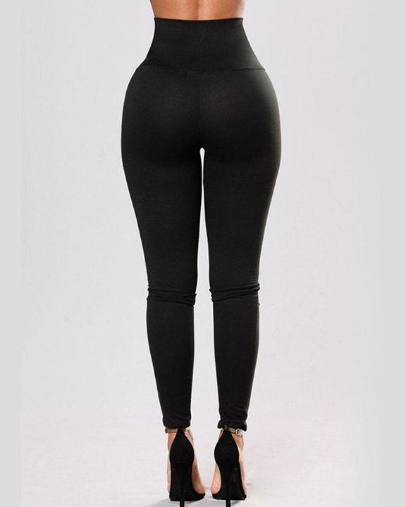 High Waist Eyelet Lace Up Skinny Pants gallery 3