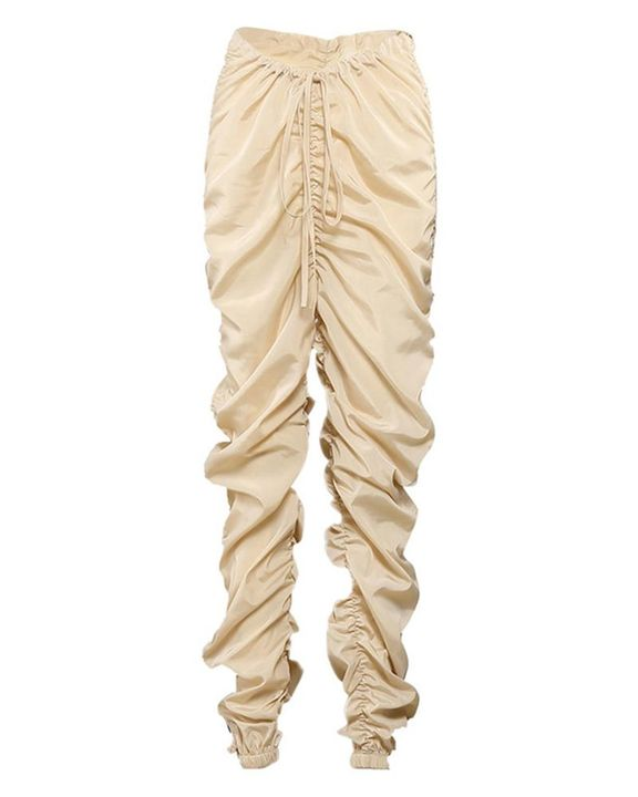 Solid Drawstring Ruched Low Waist Joggers gallery 4