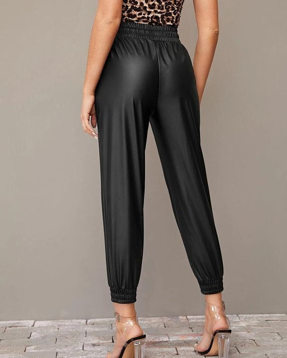 PU Leather Drawstring High Waist Cropped Pants gallery 3