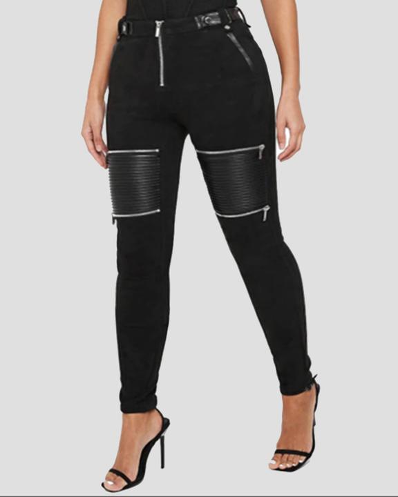 PU Patchwork Zipper Design High Waist Skinny Pants  gallery 1