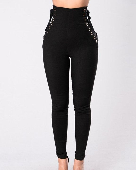 Eyelet Lace Up Side Zip Up Back High Waist Pants gallery 1