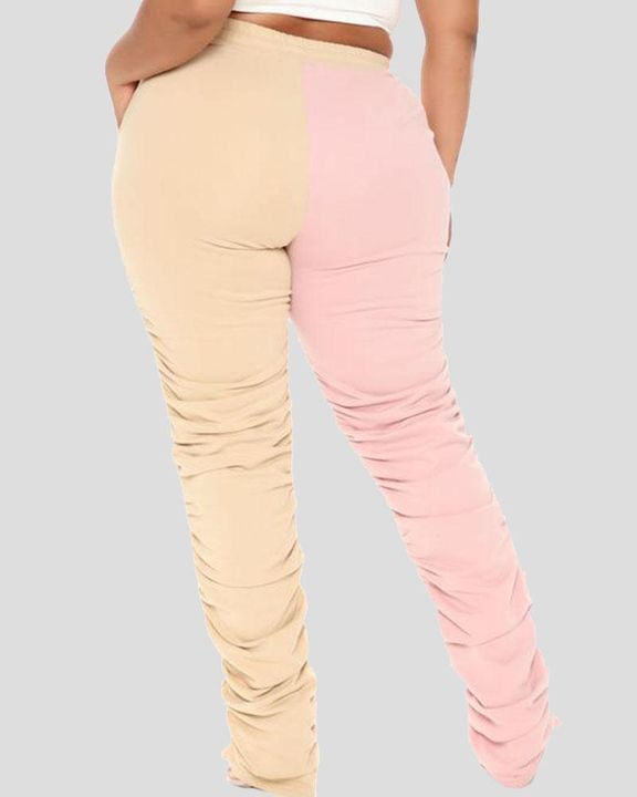 Two-Tone Drawstring Ruched High Waist Pants gallery 7