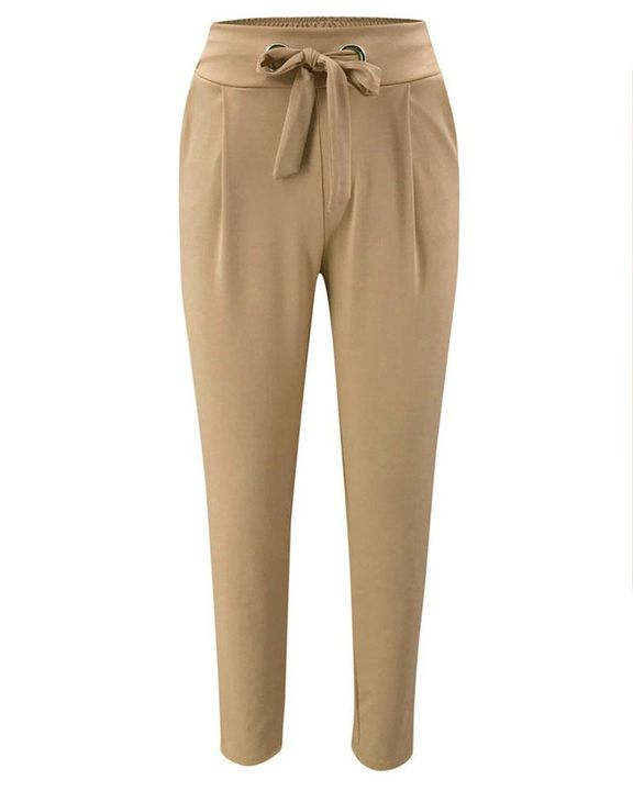 Solid Eyelet Blet Tie Crop Pants gallery 6