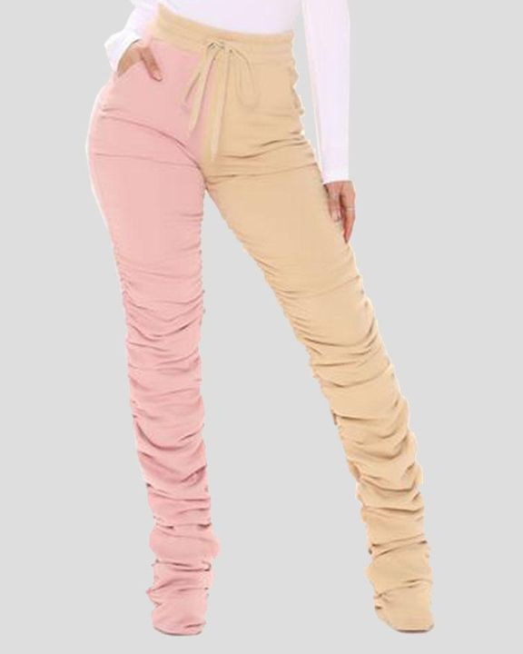 Two-Tone Drawstring Ruched High Waist Pants gallery 3