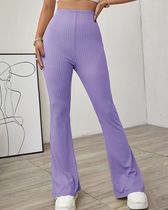 Solid Ribbed High Waist Wide Leg Pants gallery 8