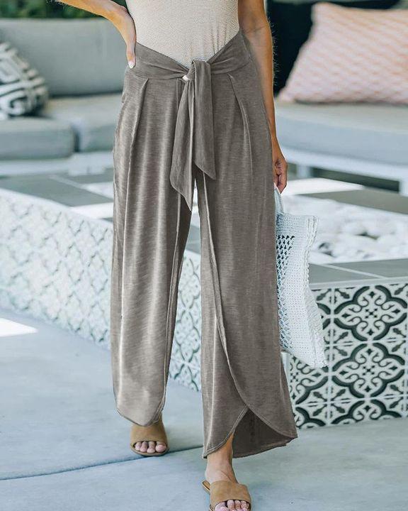 Solid Tie Front Split Hem Wide Leg Pants gallery 5
