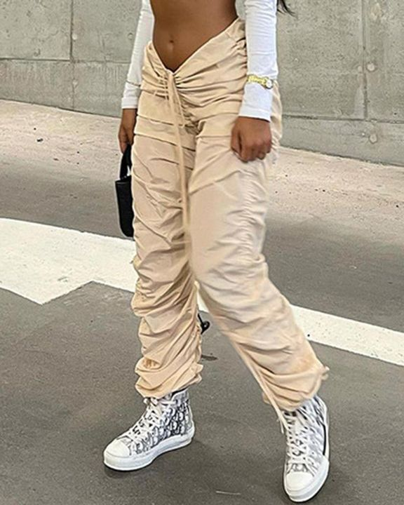 Solid Drawstring Ruched Low Waist Joggers gallery 2