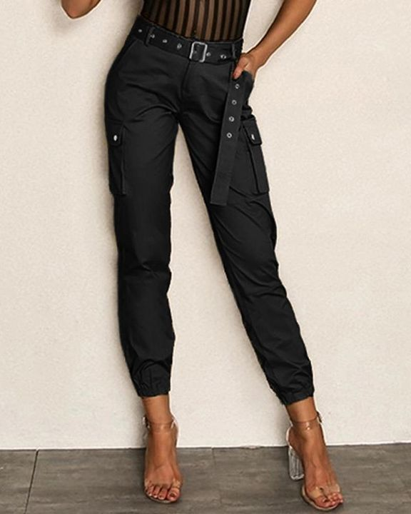 Buckle Belt Flap Pocket High Waist Pants gallery 5