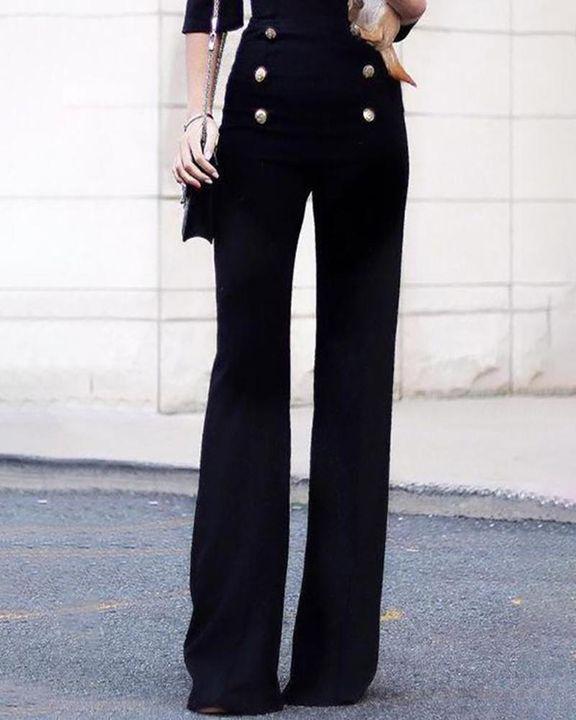 Solid Studded Button High Waist Wide Leg Pants gallery 3