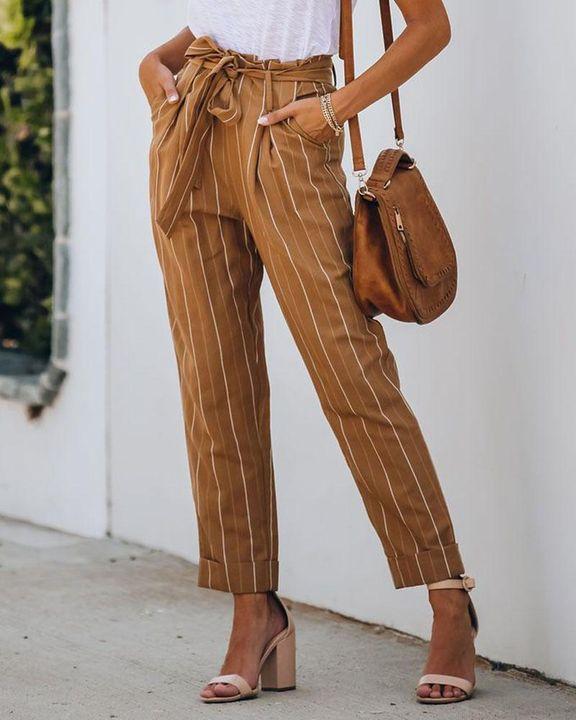 Stripe Belt Tie Paperbag Waist Straight Leg Pants gallery 2