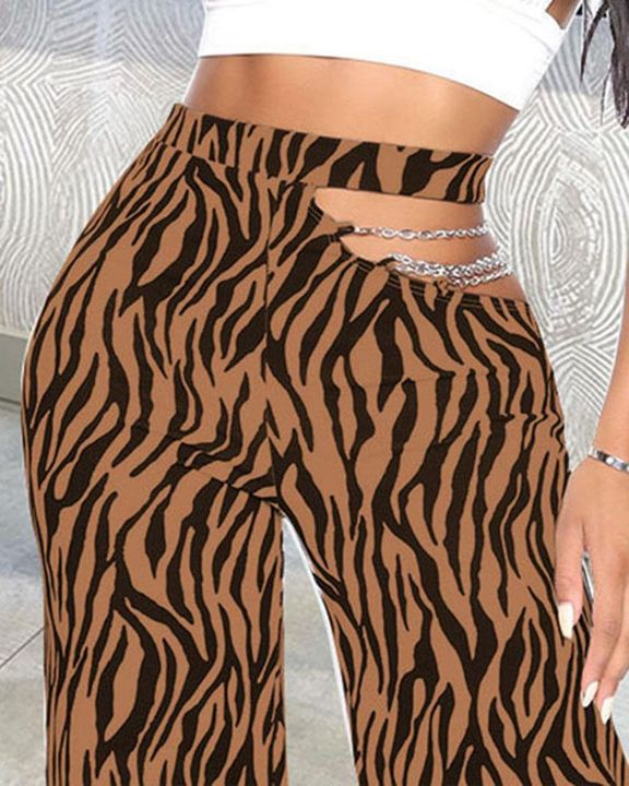 Zebra Print Cutout Chain Decor Wide Leg Pants gallery 9