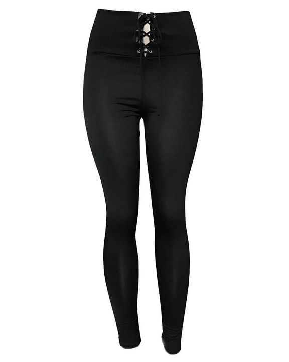 High Waist Eyelet Lace Up Skinny Pants gallery 4