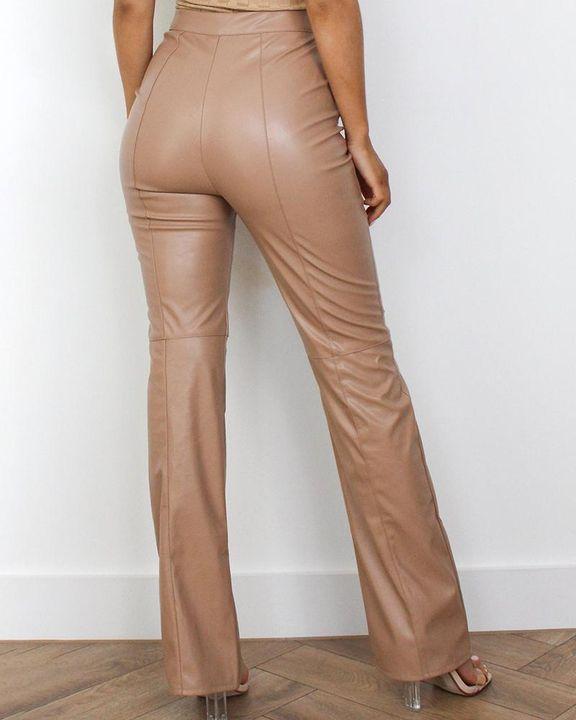 High Waist Split Hem PU Pants gallery 3