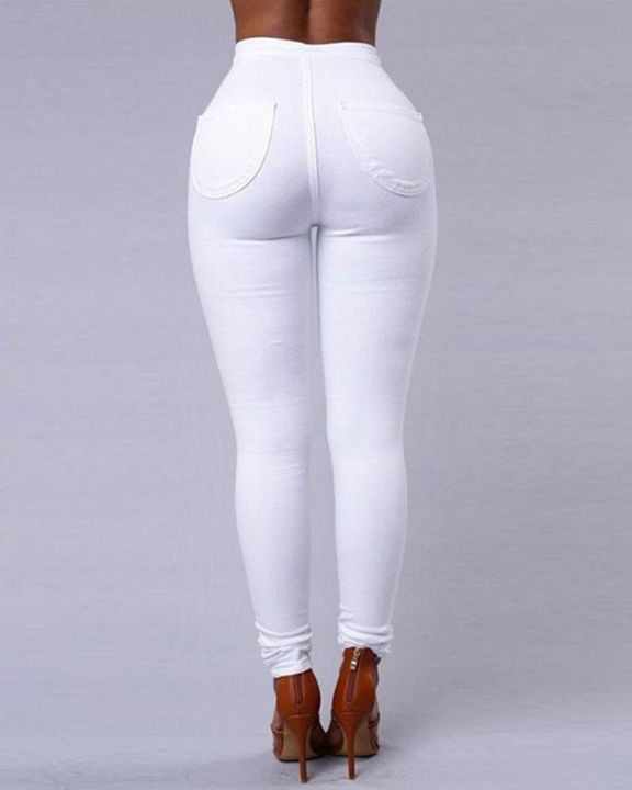 Solid Patch Pocket High Waist Zip Fly Skinny Pants gallery 7
