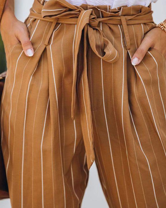 Stripe Belt Tie Paperbag Waist Straight Leg Pants gallery 6
