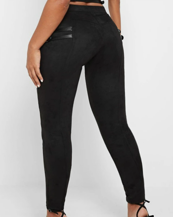 High Waist Half Zip Buckle Decor Skinny Pants gallery 4