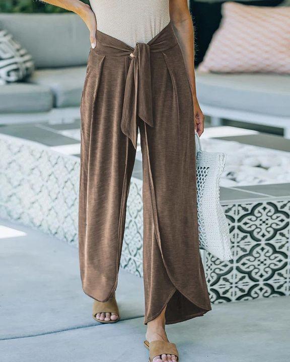 Solid Tie Front Split Hem Wide Leg Pants gallery 2