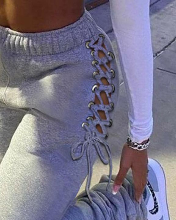 Eyelet Lace Up Side Stacked Pants gallery 6