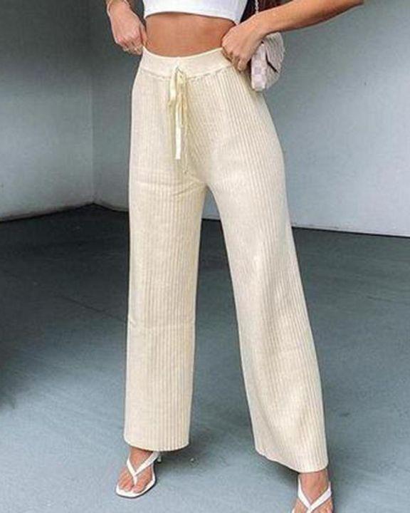 Solid Drawstring High Waist Wide Leg Pants gallery 2