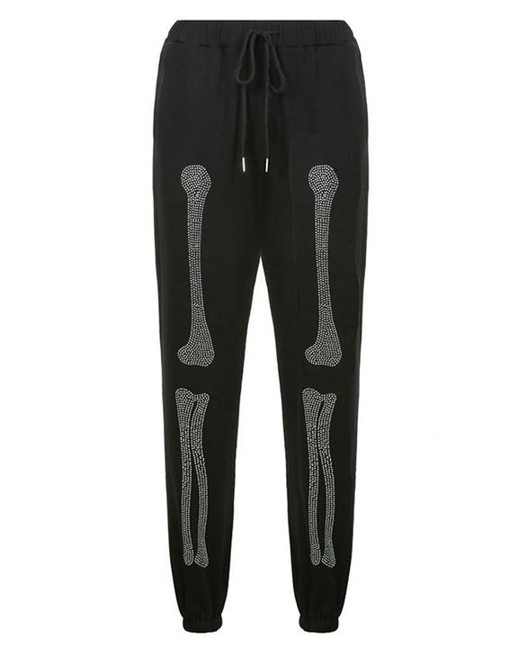 Skeleton Pattern Rhinestone Decor Drawstring Waist Pants gallery 5