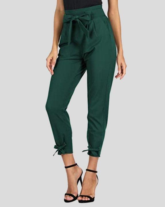 Solid Bow Decor Tie Hem Crop Pants gallery 2