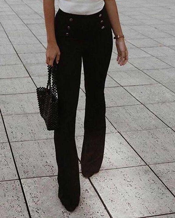 Solid Studded Button High Waist Wide Leg Pants gallery 2