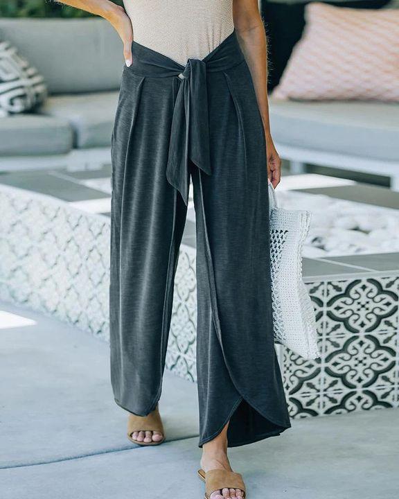 Solid Tie Front Split Hem Wide Leg Pants gallery 4