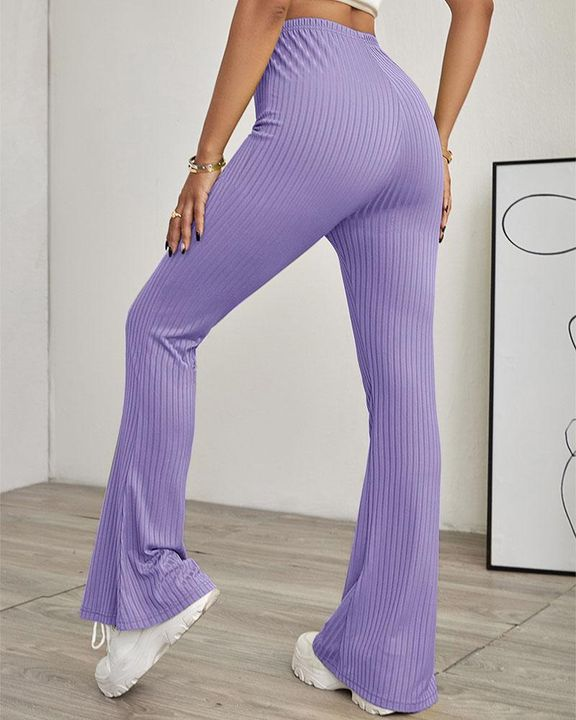 Solid Ribbed High Waist Wide Leg Pants gallery 9