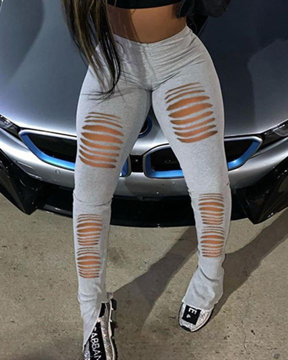 Solid Ruched Ripped Split Hem Pants gallery 3