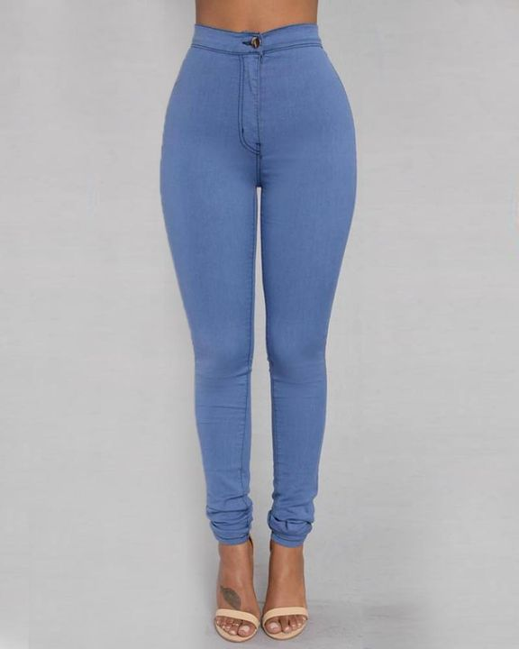 Solid Patch Pocket High Waist Zip Fly Skinny Pants gallery 6