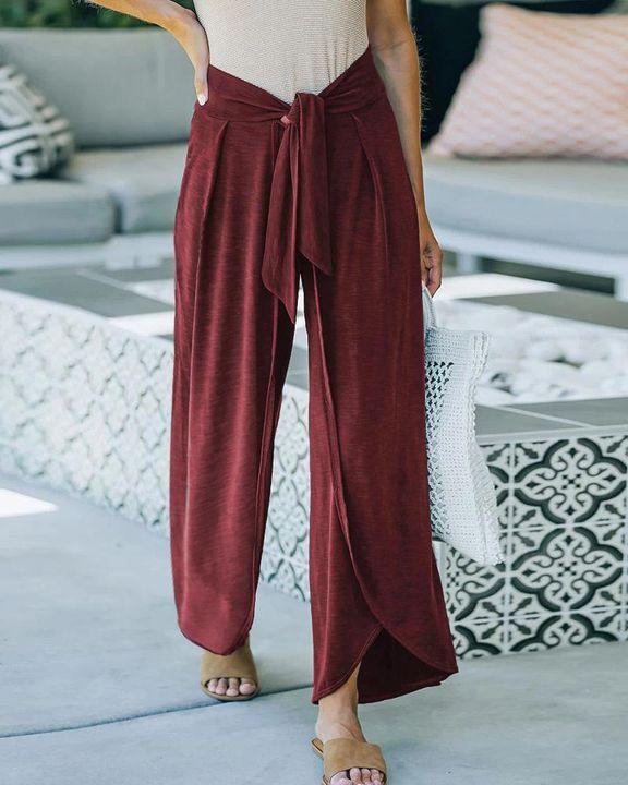 Solid Tie Front Split Hem Wide Leg Pants gallery 1