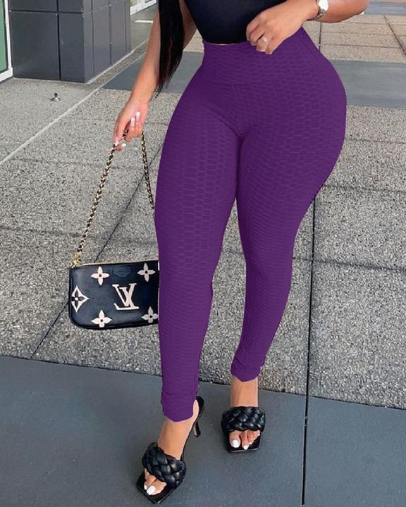 Solid Textured High Waist Skinny Pants gallery 3