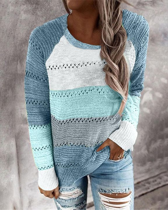 Colorblock Rib-Knit Hollow Out Round Neck Sweater gallery 7