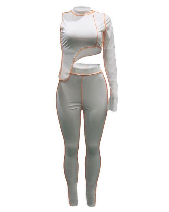 Solid Topstitching Split Hem Aysmmetrical Hem One Shoulder Top & Pants Set  gallery 10