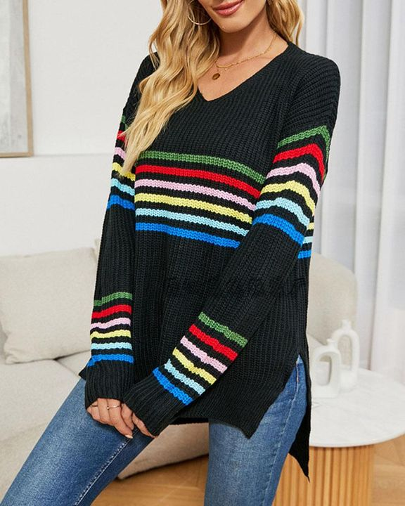 Striped Chunky Knit Drop Shoulder Sweater gallery 3