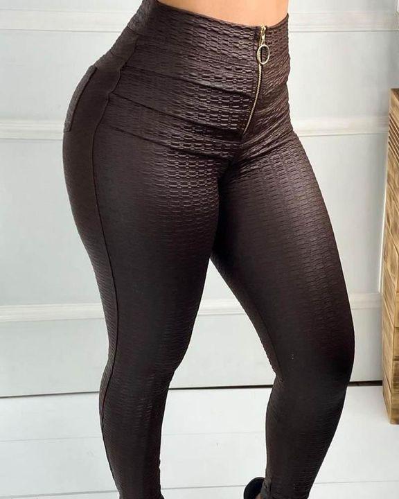 Half Zip Textured High Waist Skinny Pants gallery 5