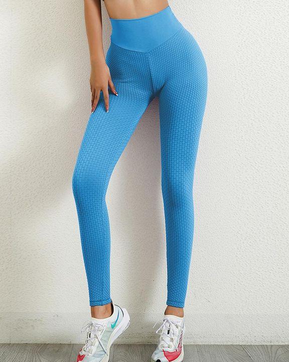 Solid Textured Wide Waistband Scrunch Butt Sports Leggings gallery 13