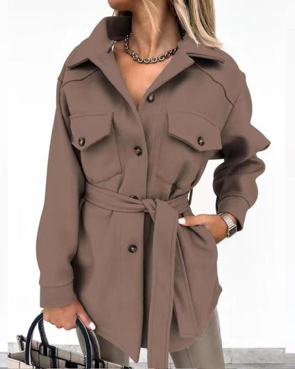 Self-Belted Flap Pocket Button Up Coat gallery 13