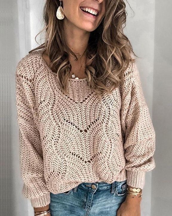 Solid Rib-Knit Hollow Out Sweater gallery 1