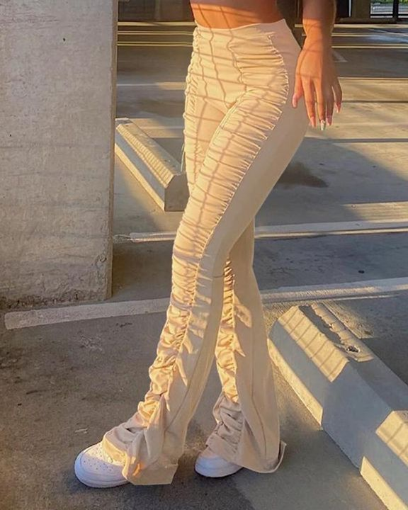 Solid Ruched Flare Leg Stacked Pants gallery 1