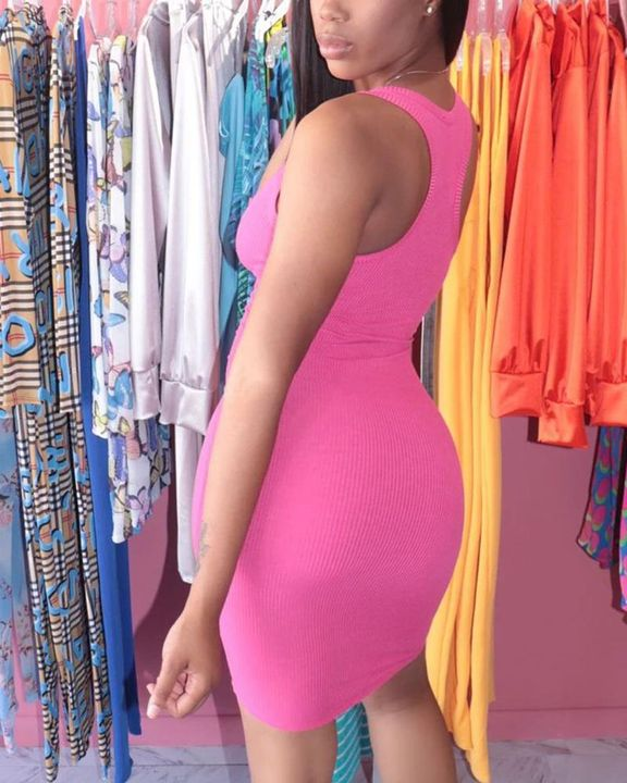 Solid Rib-Knit Notched Neck Short Dress gallery 15