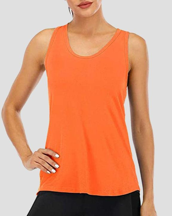 Cat Print Racerback Breathable High Low Sports Tank Top  gallery 6
