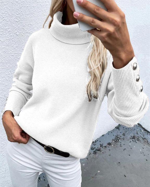 Rib Knit Turtleneck Button Trim Drop Shoulder Sweater gallery 6
