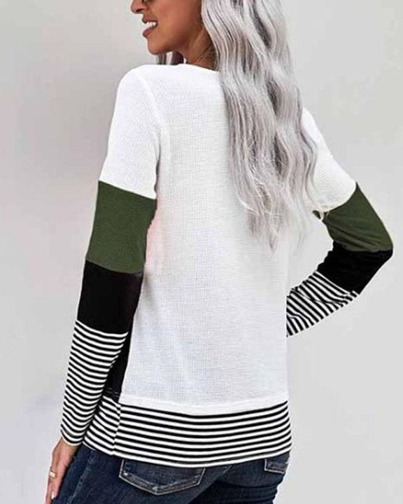 Colorblock Striped Print Round Neck Sweater gallery 9