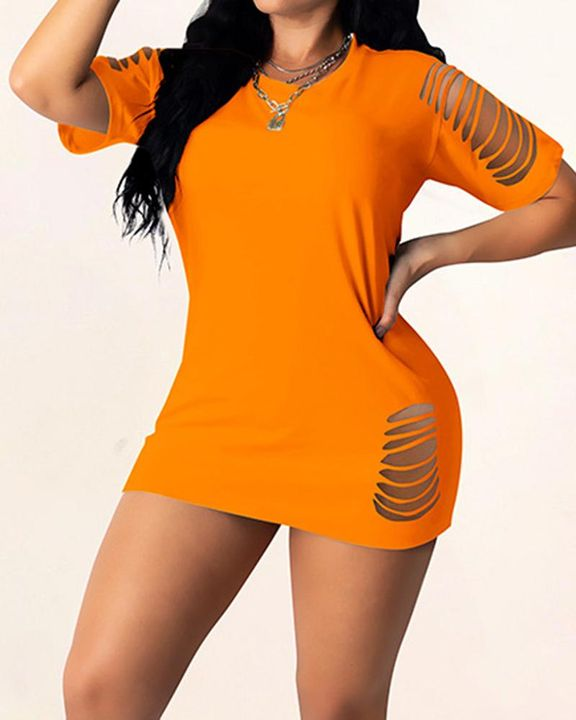 Solid Ripped Bodycon Mini Dress gallery 3