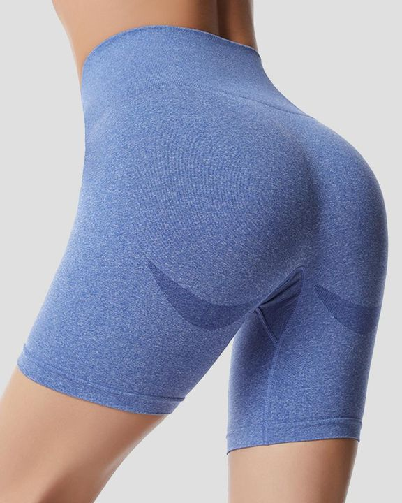 Space Dye Absorbs Sweat Butt Lifting Wide Waistband Sports Shorts gallery 3