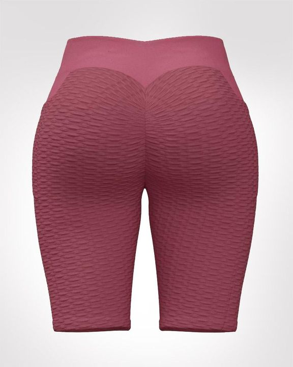 Textured Ruched Back Pocket Detail Sports Shorts gallery 12
